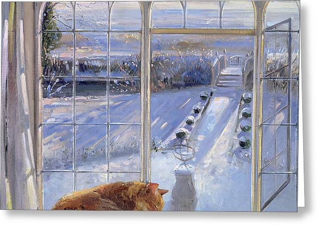 Sundial And Cat  Greeting Card by Timothy Easton