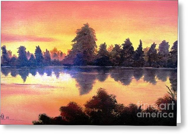 Greeting Card featuring the painting Sundown by AmaS Art