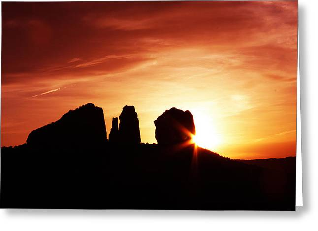Sundown At Cathedral Greeting Card by Tom Kelly