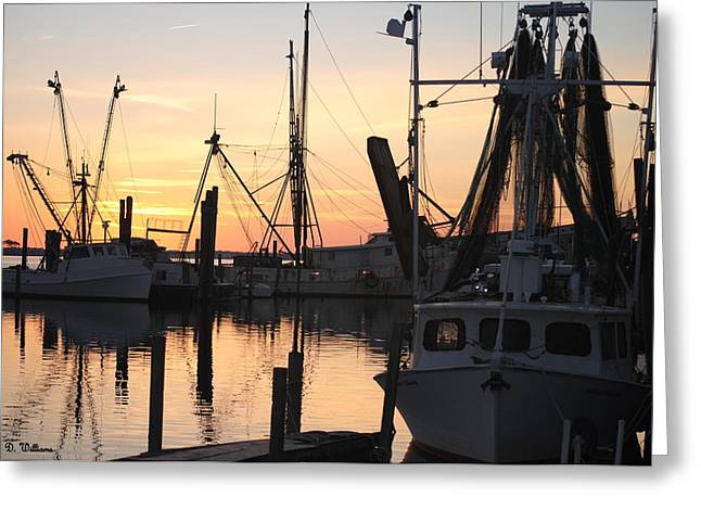 Sundown At Marshallberg Harbor Greeting Card