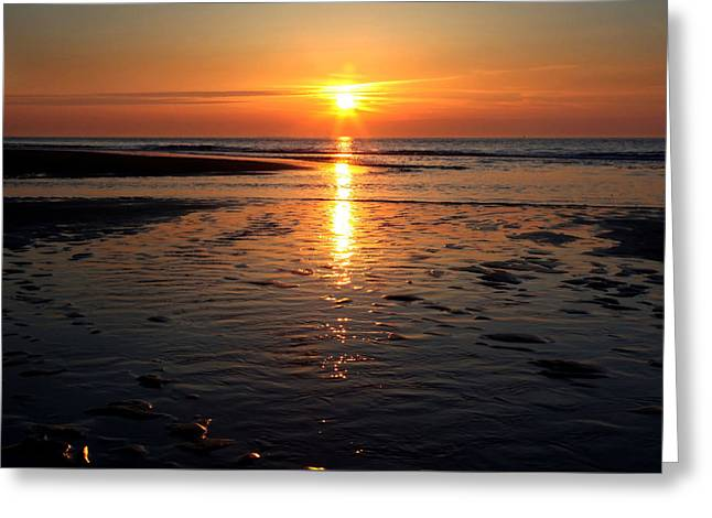 Sundown At The North Sea Greeting Card