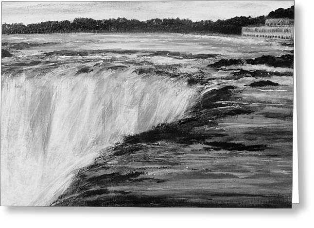 Greeting Card featuring the painting Sundown Falls by Desline Vitto