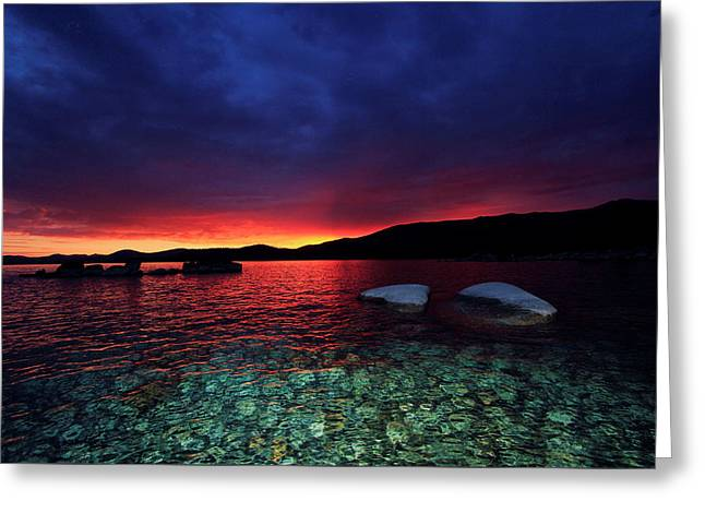 Sundown In Lake Tahoe Greeting Card by Sean Sarsfield