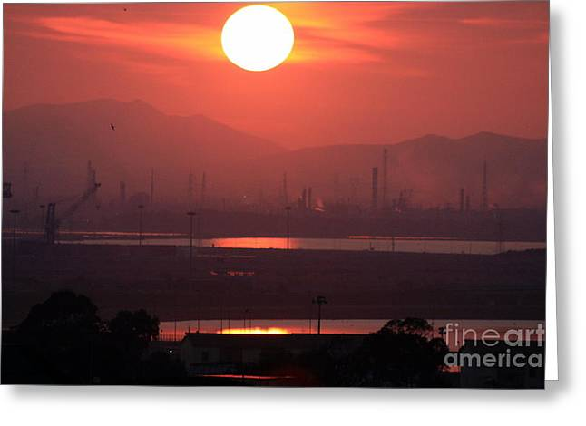 Sundown Over The Lagoon And The Dry Docks Greeting Card by Mariana Costa Weldon