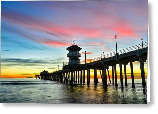 Sunet At Huntington Beach Pier Greeting Card