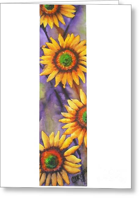 Greeting Card featuring the painting Sunflower Abstract  by Chrisann Ellis