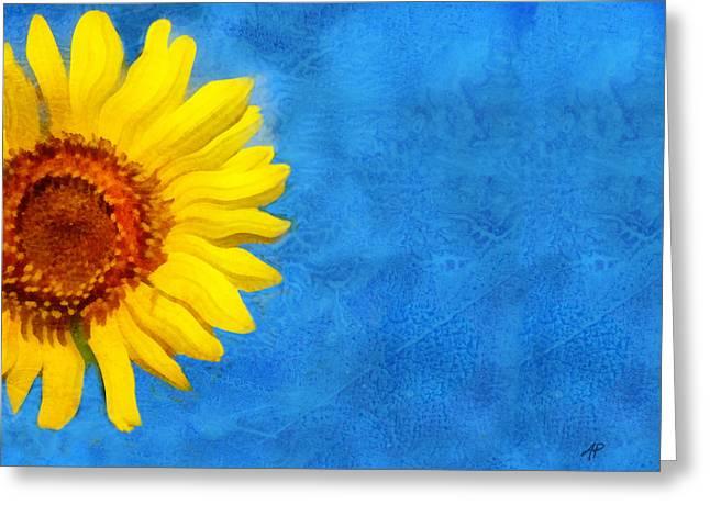 Sunflower Art Greeting Card by Ann Powell