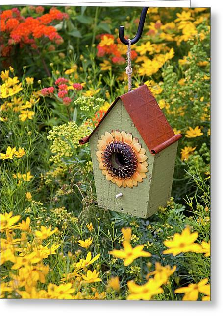Sunflower Birdhouse In Garden Greeting Card by Richard and Susan Day