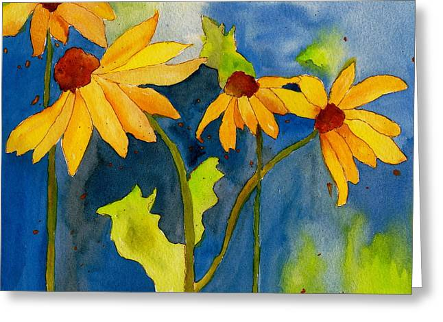 Sunflower Blue Watercolor Greeting Card