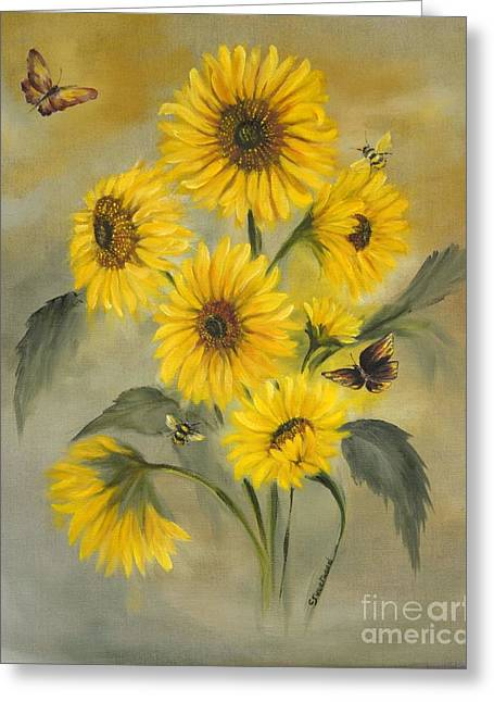 Greeting Card featuring the painting Sunflower Bouquet by Carol Sweetwood