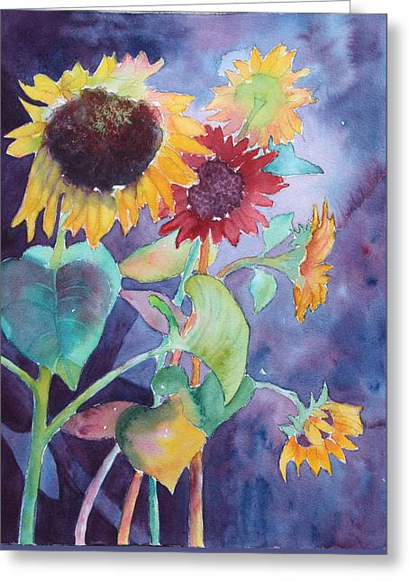 Greeting Card featuring the painting Sunflower Color by Nancy Jolley