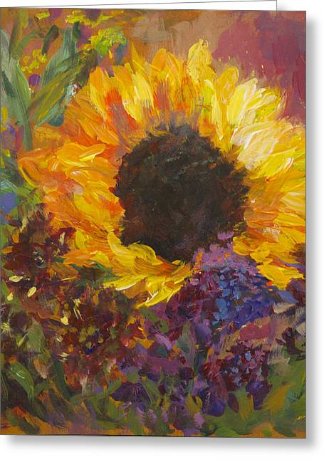 Sunflower Dance Original Painting Impressionist Greeting Card