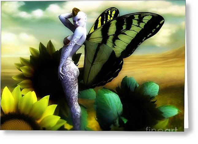 Sunflower Fairy Greeting Card by Sandra Bauser Digital Art