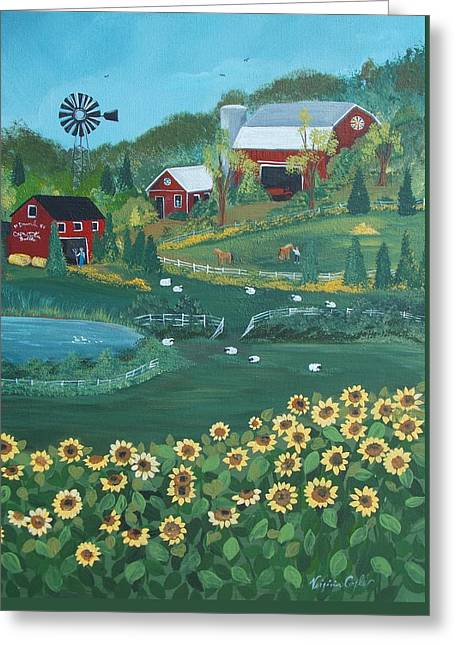 Sunflower Farm Greeting Card by Virginia Coyle