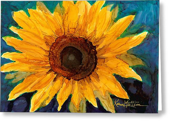Greeting Card featuring the painting Sunflower II by Karen Mattson