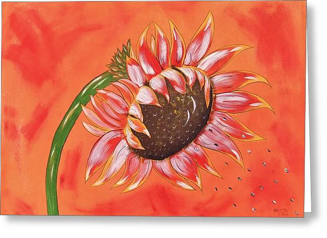 Greeting Card featuring the painting Sunflower In Fall by Cindy Micklos