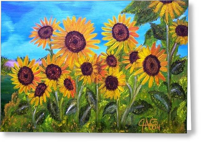 Sunflower Jungle Greeting Card by The GYPSY And DEBBIE