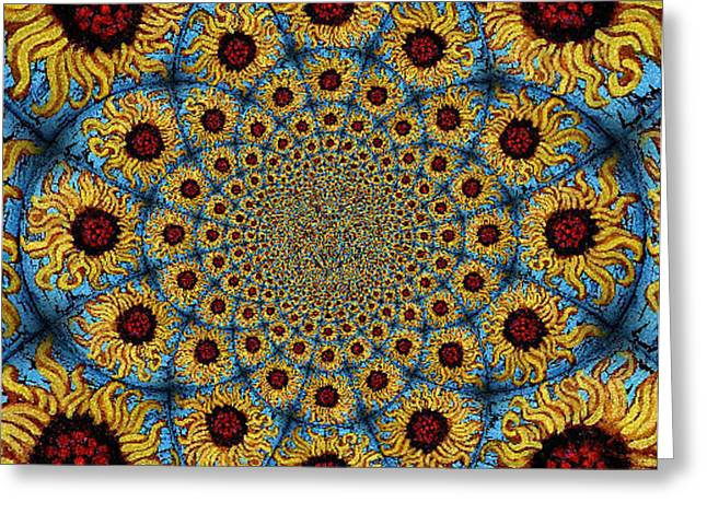 Sunflower Kaleidoscope Mandela Greeting Card by Genevieve Esson