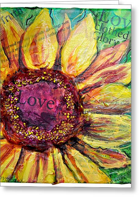 Greeting Card featuring the painting Sunflower Love  by Lisa Fiedler Jaworski