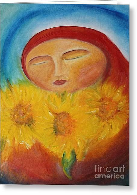 Sunflower Madonna Greeting Card
