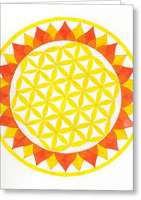 Sunflower Mandala Greeting Card by Silvia Justo Fernandez