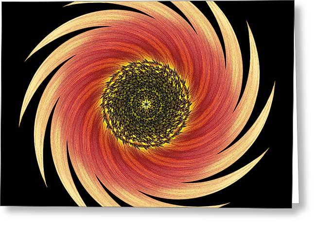 Sunflower Moulin Rouge Vii Flower Mandala Greeting Card by David J Bookbinder