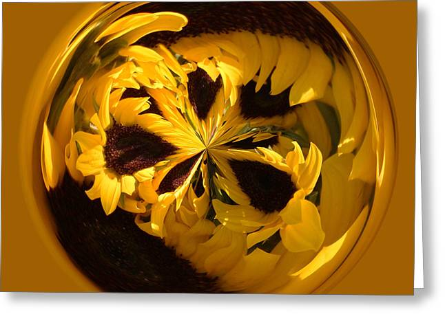 Sunflower Orb Greeting Card by Paulette Thomas