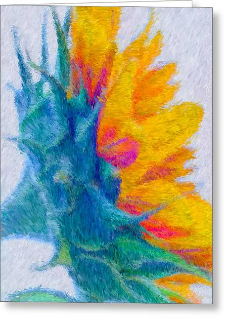 Sunflower Profile Impressionism Greeting Card