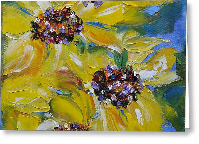 Greeting Card featuring the painting Sunflower Quartet by Judith Rhue