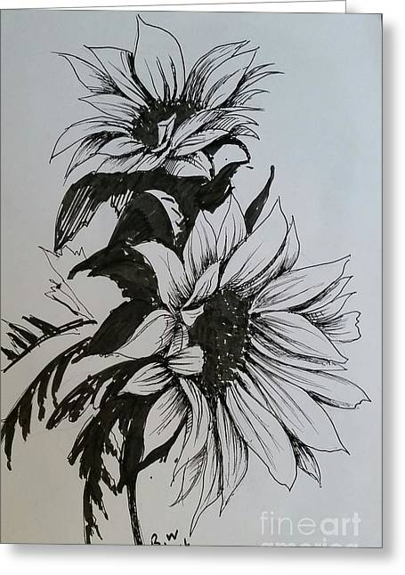 Greeting Card featuring the drawing Sunflower by Rose Wang