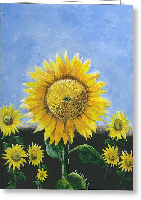 Greeting Card featuring the painting Sunflower Series One by Thomas J Herring