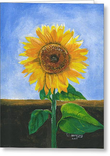 Greeting Card featuring the painting Sunflower Series Two by Thomas J Herring