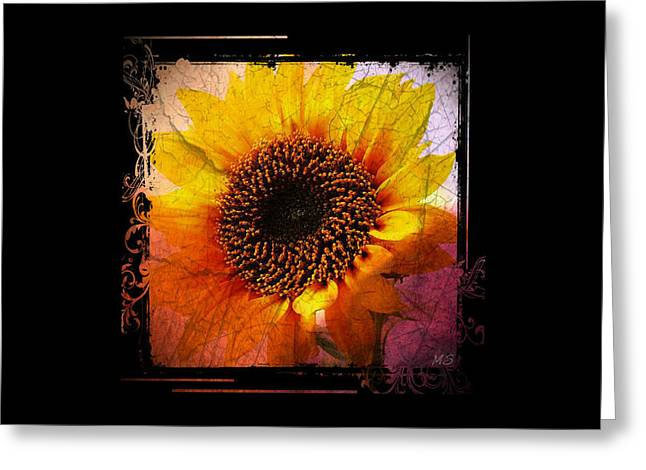 Greeting Card featuring the digital art Sunflower Sunset - Art Nouveau  by Absinthe Art By Michelle LeAnn Scott