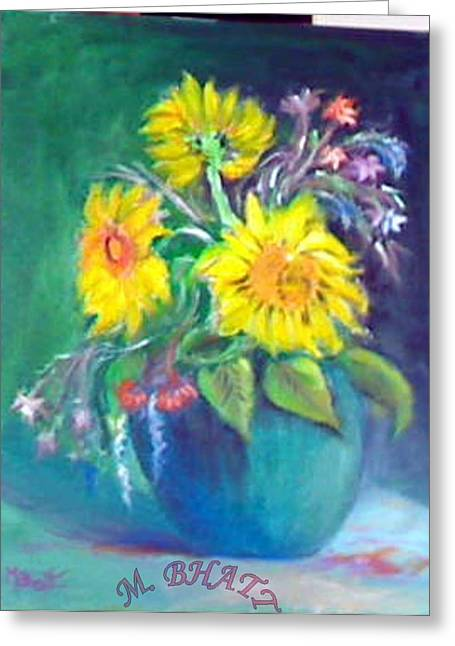 Sunflower Vase Greeting Card by M Bhatt