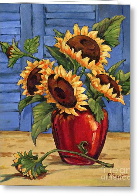 Sunflower Vase Greeting Card by Paul Brent