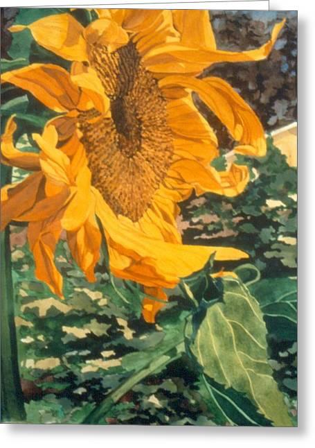 Sunflower Watercolor Painting Beautiful Flowers Sun Flower Garden Art Floral Artist K. Joann Russell Greeting Card