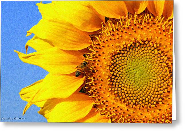 Sunflower With Bee Greeting Card by Susan Schroeder