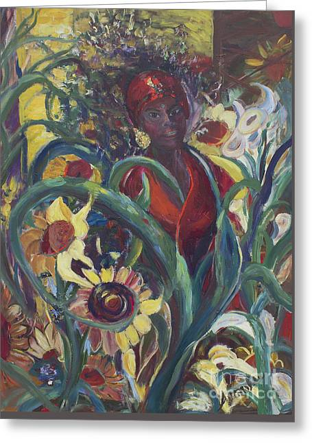 Sunflower Woman #1 Greeting Card by Avonelle Kelsey