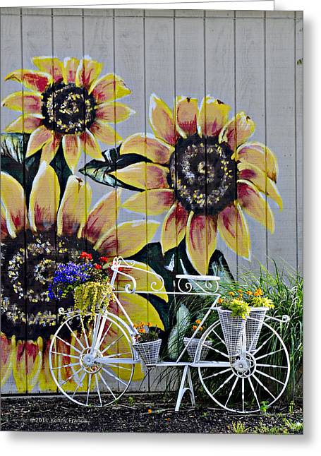 Sunflowers And Bicycle Greeting Card by Kenny Francis
