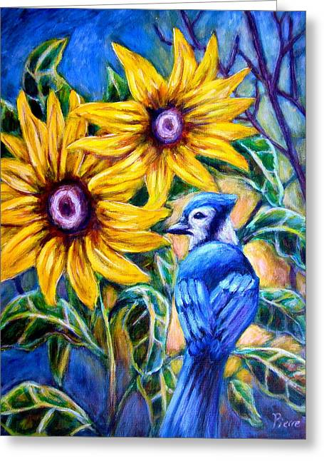Sunflowers And Blue Jay Greeting Card by Sebastian Pierre