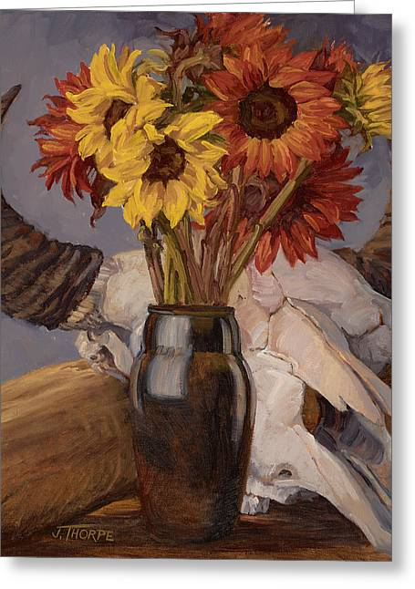 Sunflowers And Buffalo Skull Greeting Card