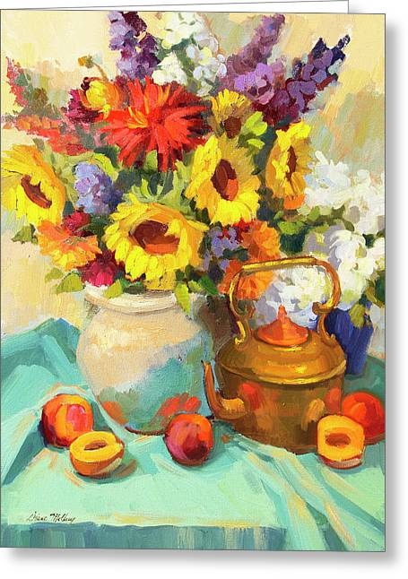 Sunflowers And Copper Greeting Card by Diane McClary