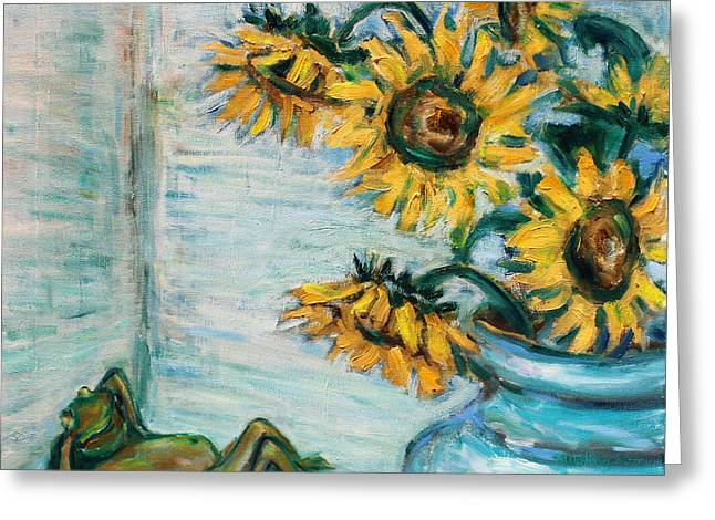 Sunflowers And Frog Greeting Card