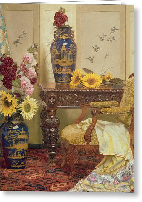 Sunflowers And Hollyhocks Greeting Card