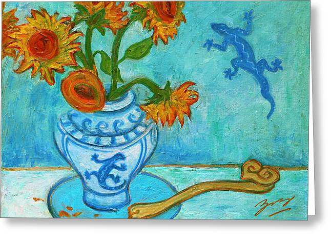 Greeting Card featuring the painting Sunflowers And Lizards by Xueling Zou