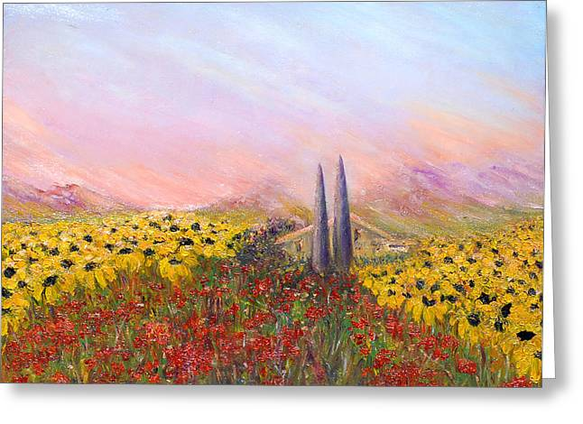Sunflowers And Poppies Greeting Card by Helen Kagan