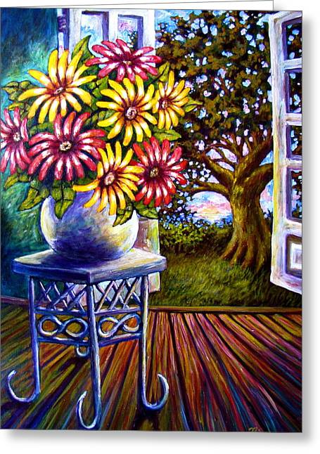 Sunflowers And The Oak Tree Greeting Card