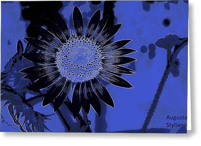 Sunflowers At Night Greeting Card by Augusta Stylianou