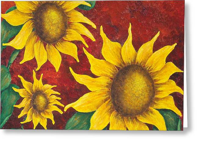 Sunflowers At Sunset Greeting Card by Pamela Allegretto