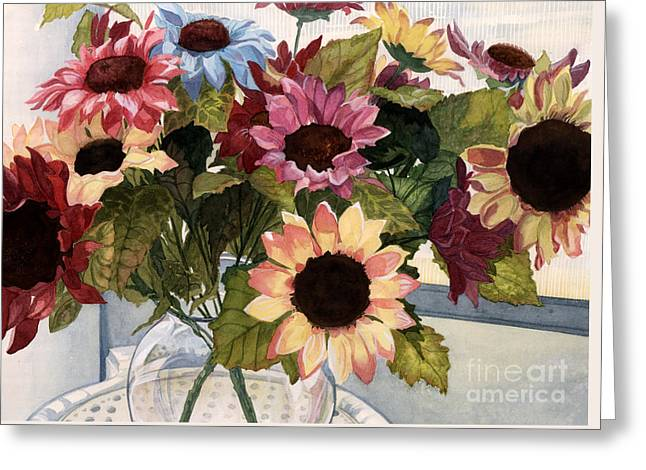 Sunflowers Greeting Card by Barbara Jewell
